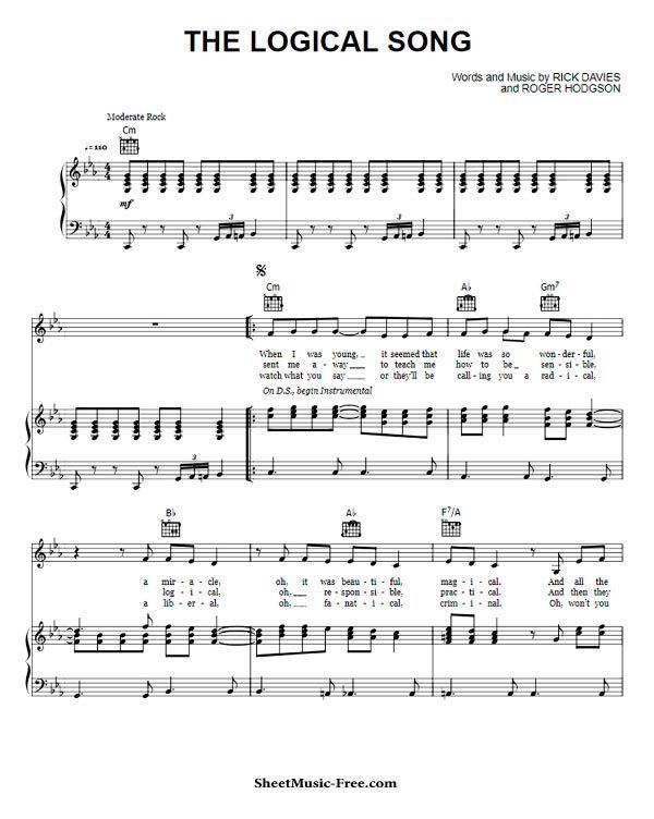The Logical Song Sheet Music Supertramp Song Sheet Sheet Music