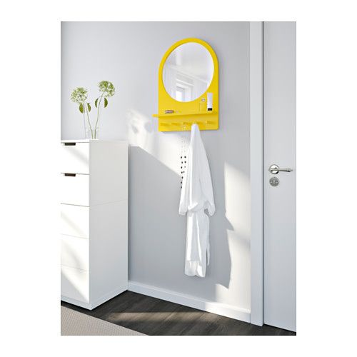 SALTRÖD Mirror with shelf and hooks - yellow - IKEA    Not entirely sure how I feel about the yellow...