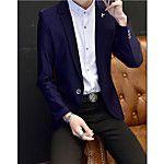 Hombre Vintage Casual/Diario / Tallas Grandes Otoño / Invierno Blazer,Solapa de Pico Un Color Manga Larga Algodón Azul / Rojo / Marrón 2017 - $17.99