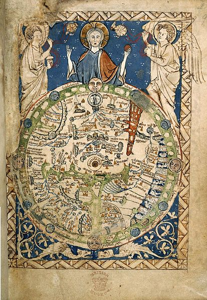 Psalter World Map (mappa mundi), 1265 / This is one of the 'great' medieval world maps. At Burns & Co., we create rare historical art produced from prints, photographs, manuscripts, ancient texts, & reliefs. Visit: https://www.pinterest.com/BurnsCoGallery/ or call (888) 266-9385.