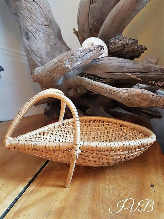 Vintage tear drop shaped wicker basket small wicker basket
