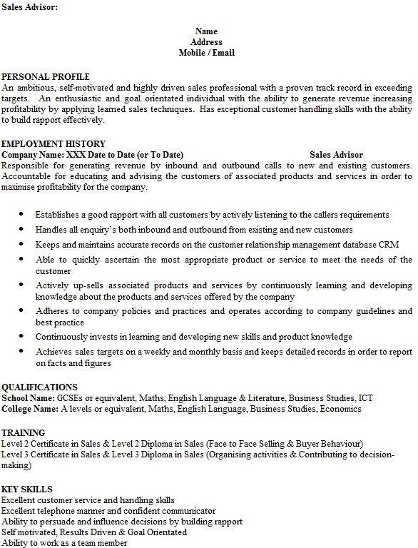 Sales Advisor Cv Colonarsd7 Cv Template Service Advisor Cv Design Template