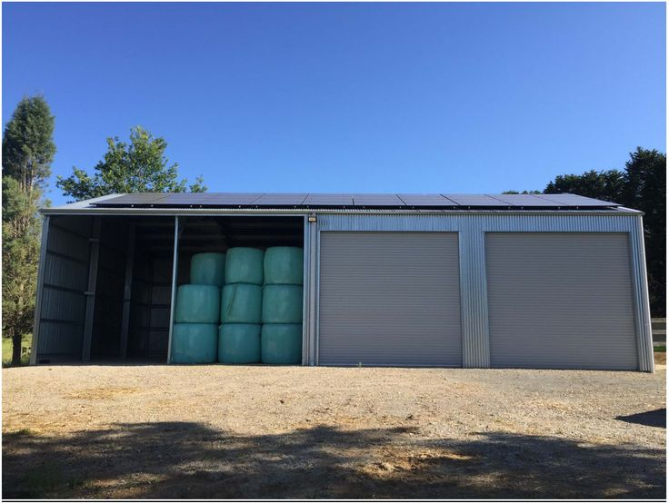 In the lush green countryside of the Southern Highlands in NSW. THE Shed Company Southern Highlands designed this site specific farm shed for their rural client.   A 3 Bay Shed utilising both COLORBOND and ZINCALUME steel profiles