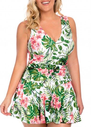 d2dc955dc8 Plus Size Tropical Print V Neck Swimdress and Shorts | liligal.com - USD  $28.04