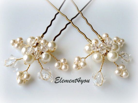 Bridal hair piece. Wedding hair pins. Leaves. Hair vines. Ivory gold. Pearl hair pins. Wedding accessories. White pearls. Crystal pins. $20.00, via Etsy.