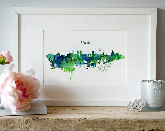 Munich Skyline Watercolor painting Wall art City by Artsyndrome