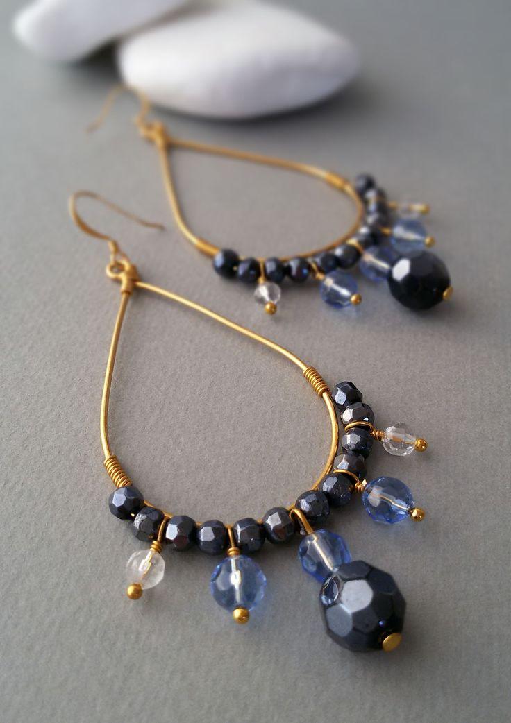 Teardrop Hoop Earrings with Blue Crystal Beads