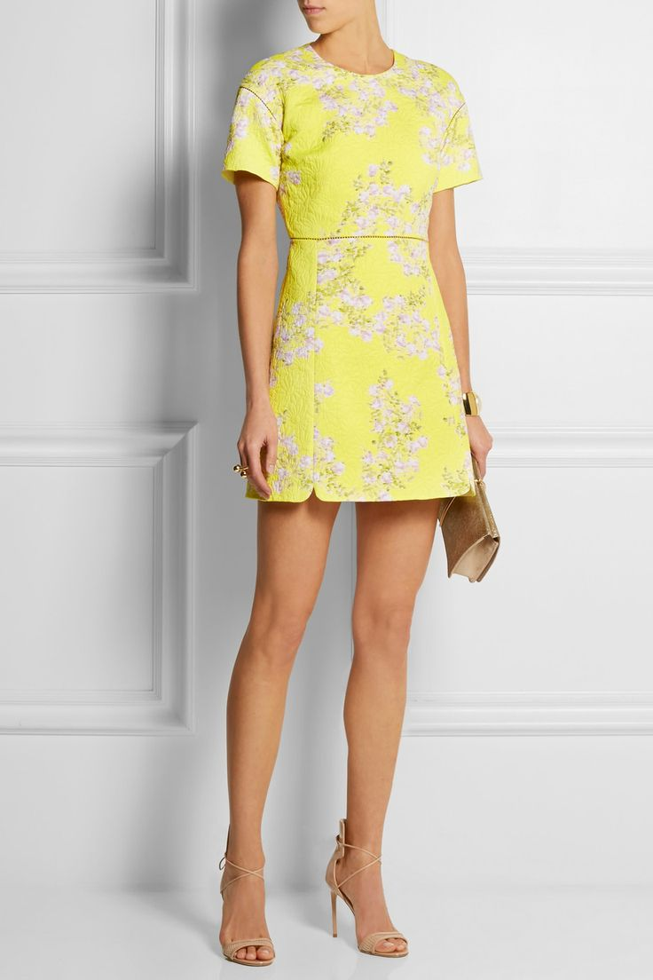 Giambattista Valli|Floral-print matelassé cotton mini dress|NET-A-PORTER.COM