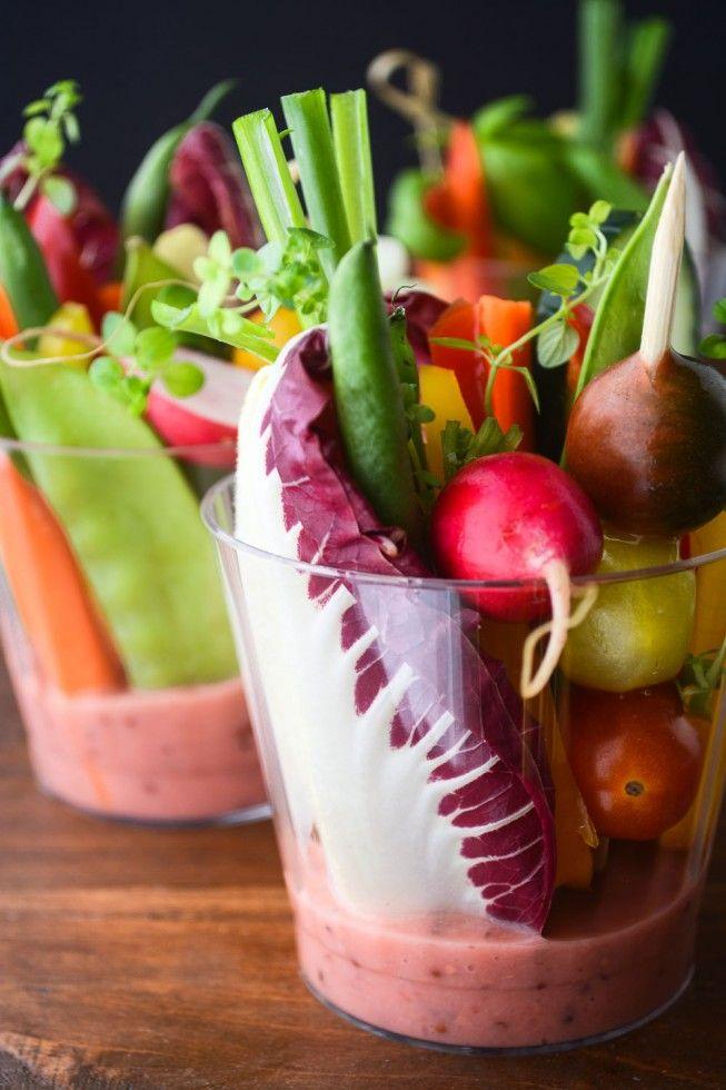 Individual Salad Cups with Rhubarb Vinaigrette recipe
