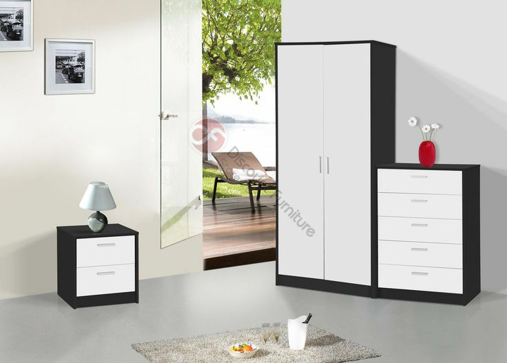 MODERN WHITE GLOSS WITH BLACK OAK FRAME BEDROOM SET - WARDROBE + CHEST + BEDSIDE
