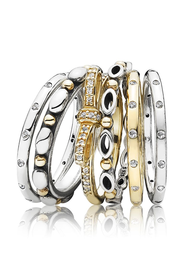 Perfect stackable rings in gold and silver. #PANDORA #PANDORAring