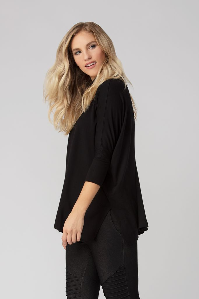Womens Organic Bamboo Viscose Turtleneck Sweater in Black - LNBF Sustainable Clothing Designed in Canada