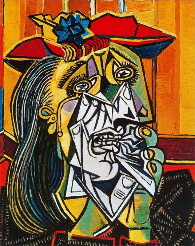 Crying woman (1937) by Pablo Picasso. Qué profunda tristeza siento al contemplarlo! !! There's a movement of cubism in this piece this is because of the use geometry on this works in which was build up with the use of shapes to create this view. Also the use of colour made this piece look lively.