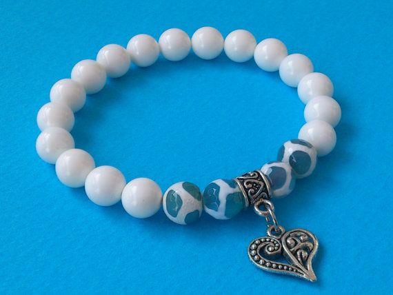 Beaded Bracelet/ Gemstone Stretch Bracelet/ White Shell by MACRANI