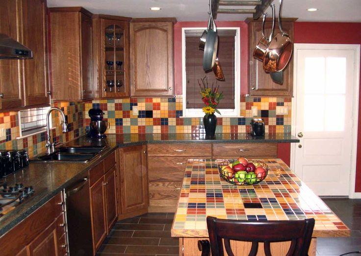 Mosaic Tile For Kitchen Ideas with fullcolor Tile Backsplash and wooden cupboard