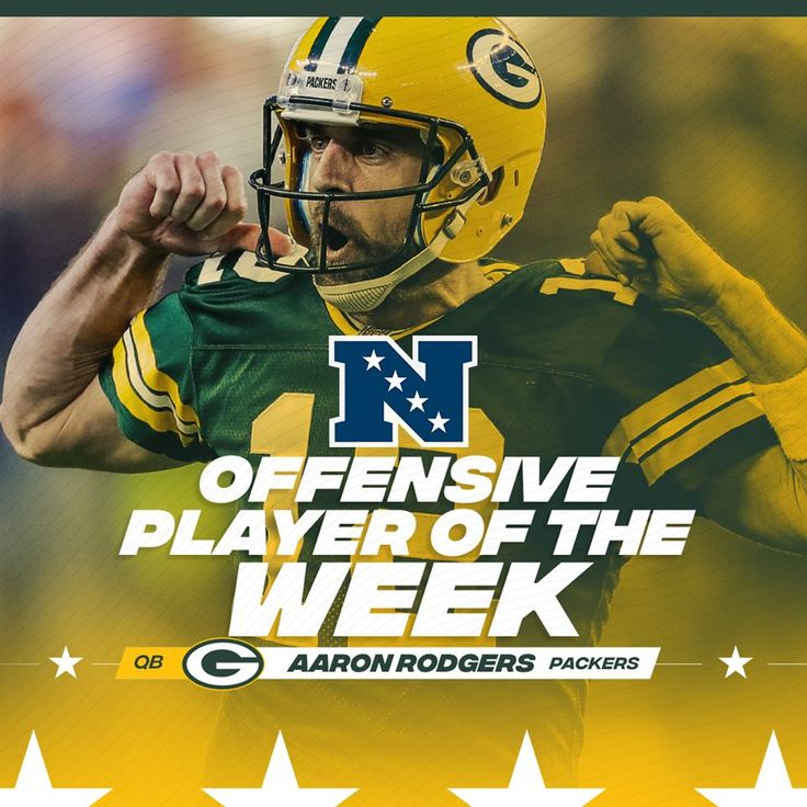 Aaron Rodgers named NFC Offensive Player of the Week. This is the 16th time Packers quarterback has been honored with the award