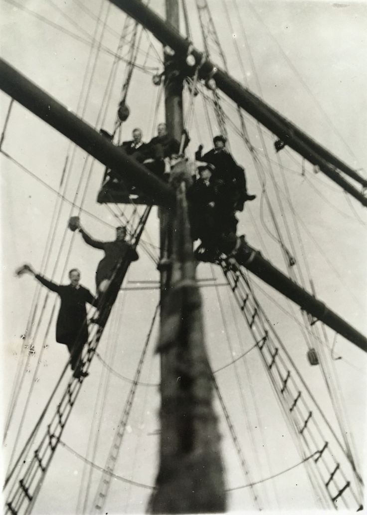 Sailors waving to the crowd at the mast - @Rauma Finland in tee 1920s'