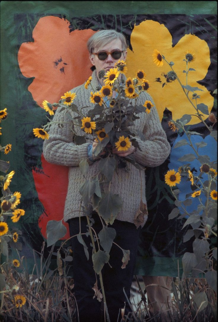 Andy Warhol in a field of black-eyed Susans