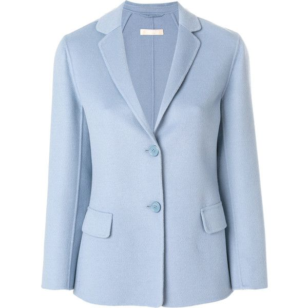 'S Max Mara slim fit blazer (53.640 RUB) ❤ liked on Polyvore featuring outerwear, jackets, blazers, blue, blue jackets, slim blazer jacket, blue blazers, slim fit blue blazer and blazer jacket
