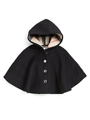 This cape is perfect, the style, the hood I love everything about it. But the buttoned up front wouldn't be practical for the catwalk! It would have to be loose or Velcro!  Burberry Little Girl's Check-Lined Cape.