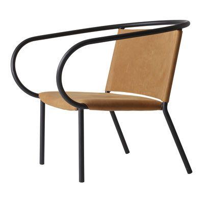Fauteuil bas Afteroom Lounge Chair / Cuir Noir / Cuir Cognac - Menu - Décoration et mobilier design avec Made in Design