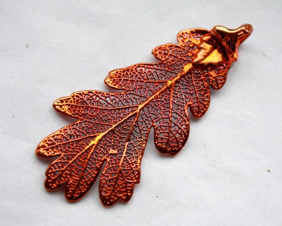 Red Copper Electroplated Lacy Oak Leaf Pendant // by ifoundgallery, $14.00