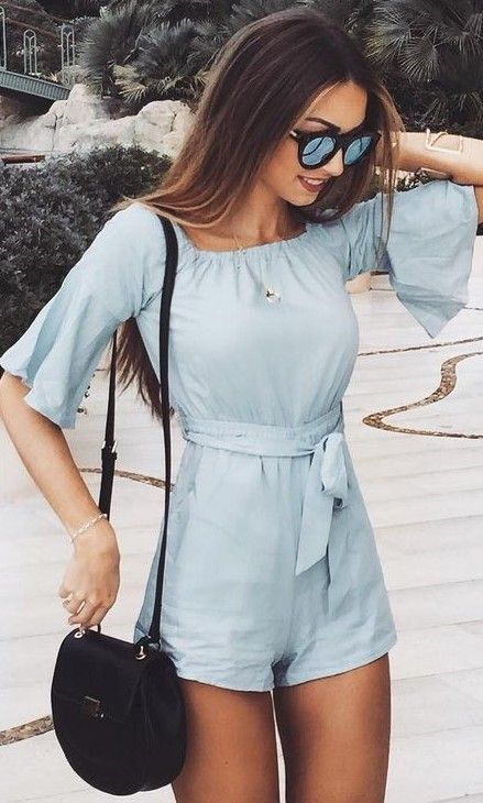 #summer #fashion / baby blue playsuit