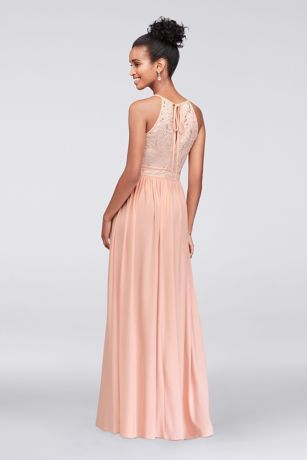 c7f15e3077b Lace Tie Back Keyhole Halter Dress Style 12490, Blush, 2 in 2019 ...
