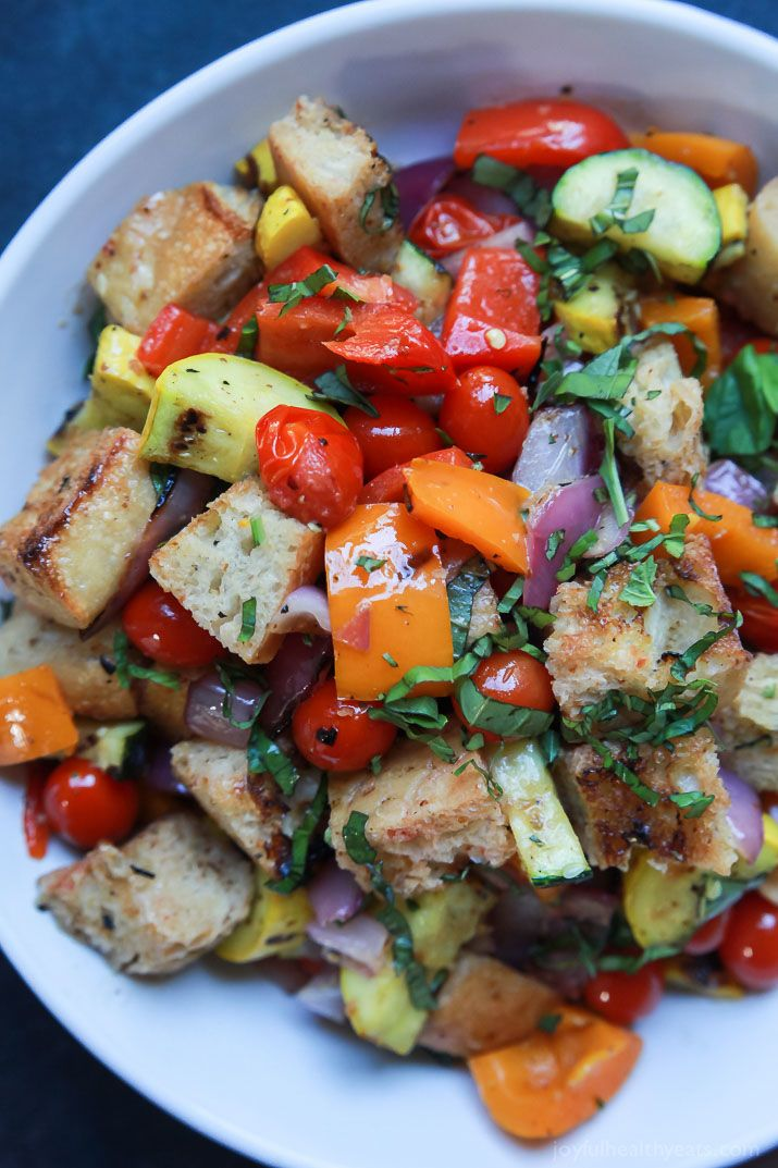 13. Grilled Vegetable Panzanella Salad #healthy #lettucefree #salad #recipes http://greatist.com/eat/salad-recipes-without-lettuce