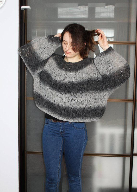 b0177b0bd0 Chunky Mohair Sweater Loose Knit Jumper Cropped baggy Sweater Oversized  Sweater Plus size Bohemian c
