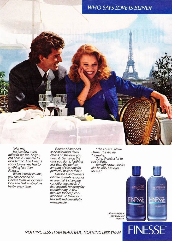 1987 Vintage Magazine Print Ad - Finesse Shampoo - Sexy Couple in Paris #Finesse