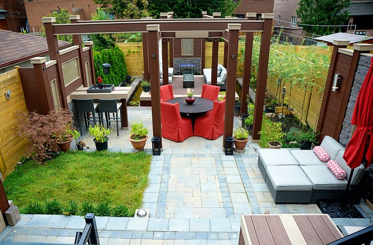 Varying the size and colour of patio stones creates visual interest and style! Deck Design by Paul Lafrance Design.