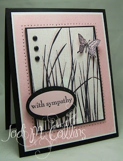 handmade sympathy card ... white and pink with black accents ... piercing ... brads and butterfly ... luv how the grass looks in pink & black ... sweet card ... Stampin' Up!