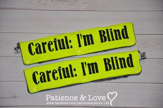 """Careful: I'm Blind"" Leash Sleeve for blind dog, Snap-On"