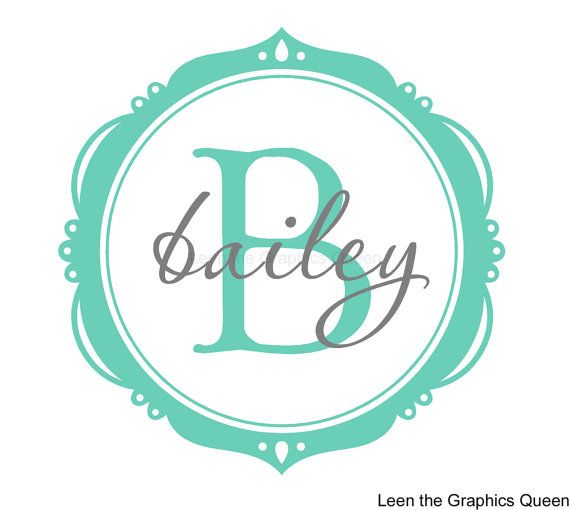 Monogram Wall Decal - Bailey Frame with Name and Initial - Personalize His or Her Space in their favorite colors on Etsy, $30.00
