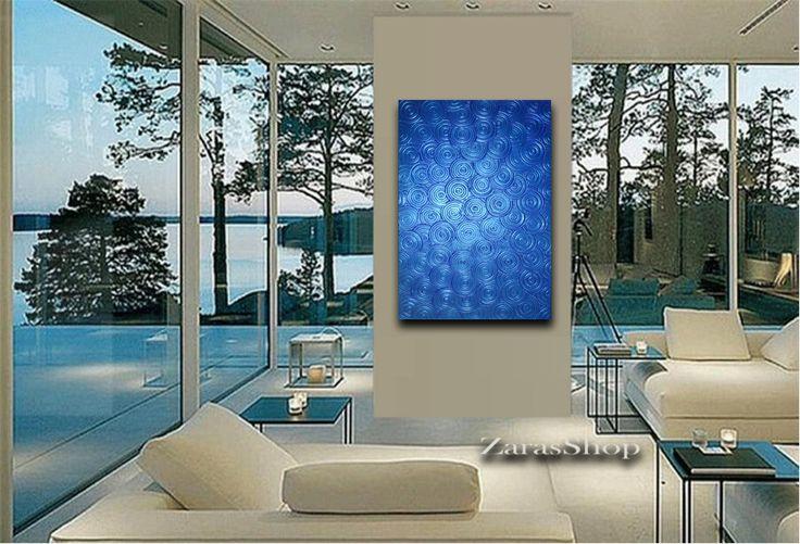 Modern metallic blue painting 24x36 texture circles by ZarasShop