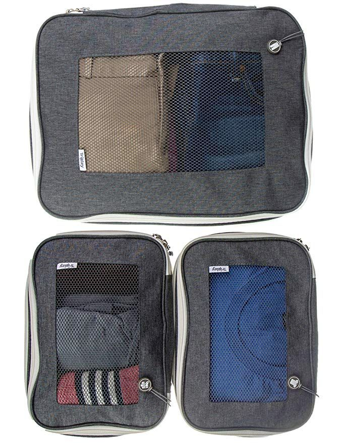 8008f34b7f22 Compression Packing Cubes w/Space-Saving Double Zipper, Set of 3 ...