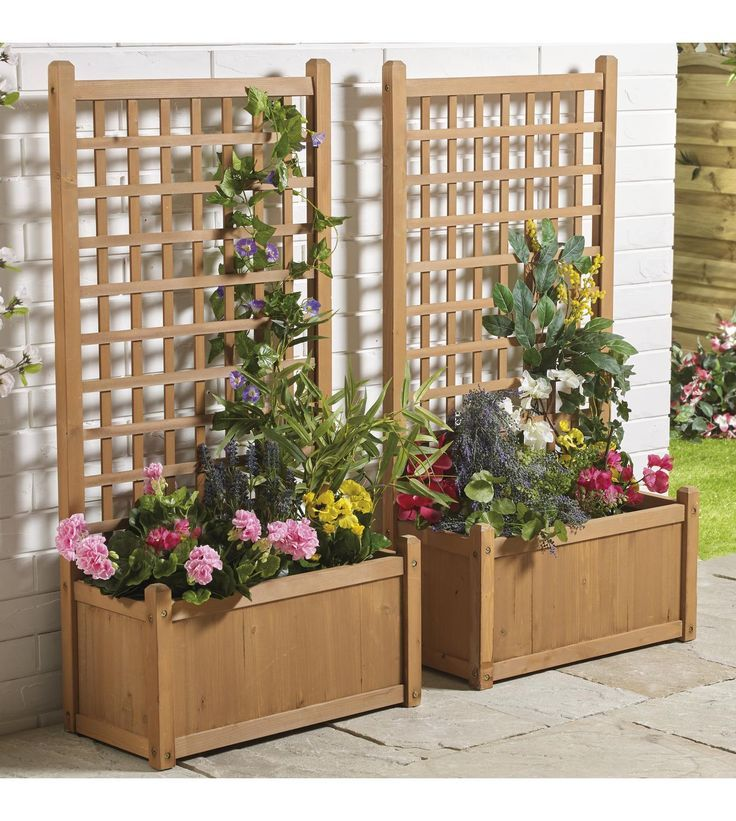 Image For Wooden Trellis Planter Offer From Studio Wooden Garden Planters Planter Trellis Garden Planter Boxes