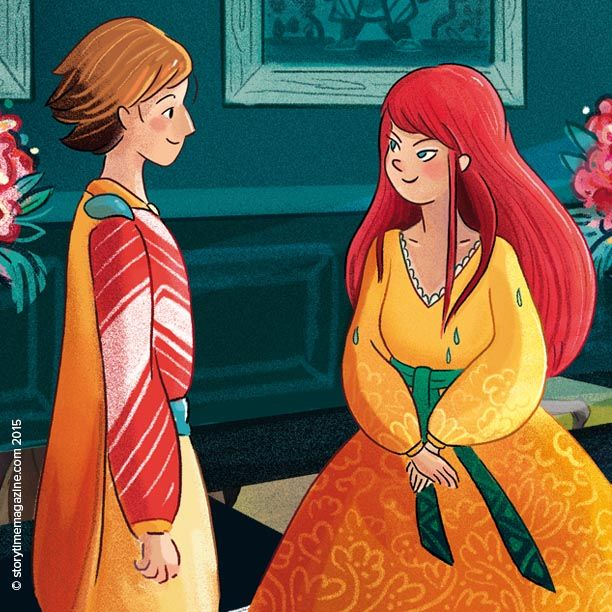 The princess meets the prince in Princess and the Pea – Storytime Issue 12's fairytale! Illustration by Florence Guittard (http://floelittlecloud.tumblr.com) ~ STORYTIMEMAGAZINE.COM