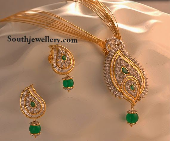 Chic Multi Chain Necklace with Diamond Pendant ~ Latest Jewellery Designs