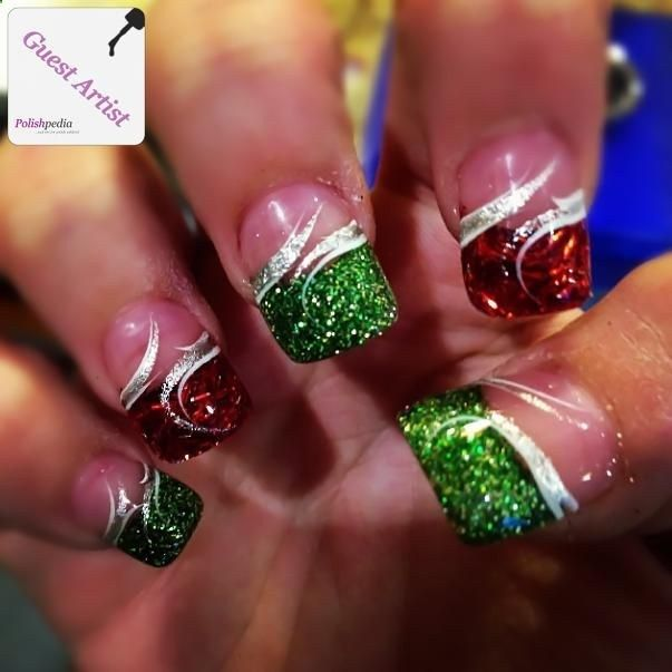 Christmas Nails... definitely wouldnt do all my nails like this. But I do love the glitter tip with a swirl over .