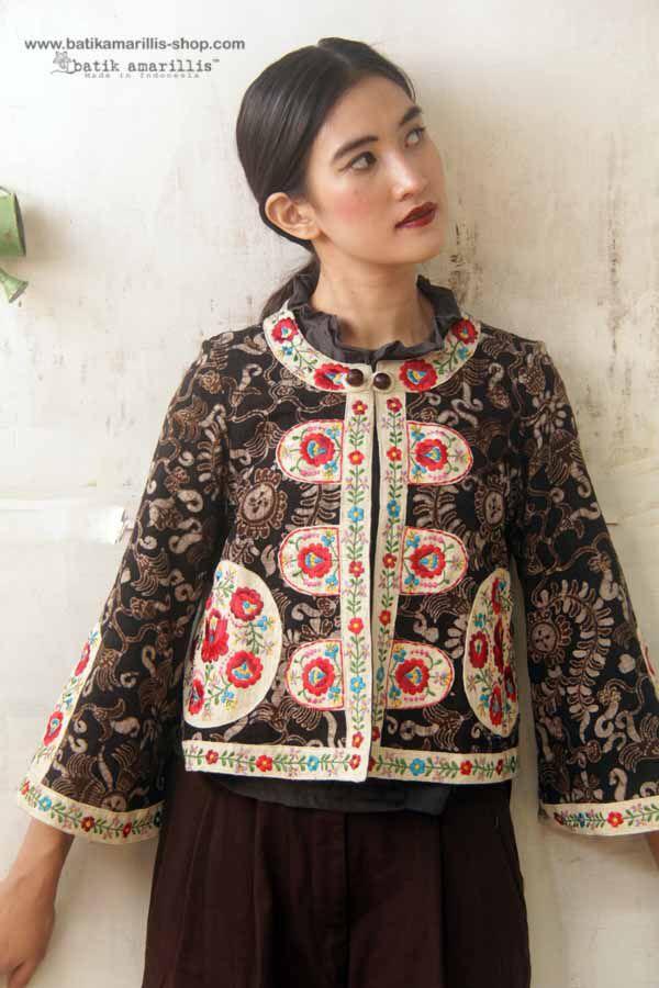 Batik Amarillis made in Indonesia ( Tenun batik gedog Tuban of Indonesia meets Hungarian embroidery)