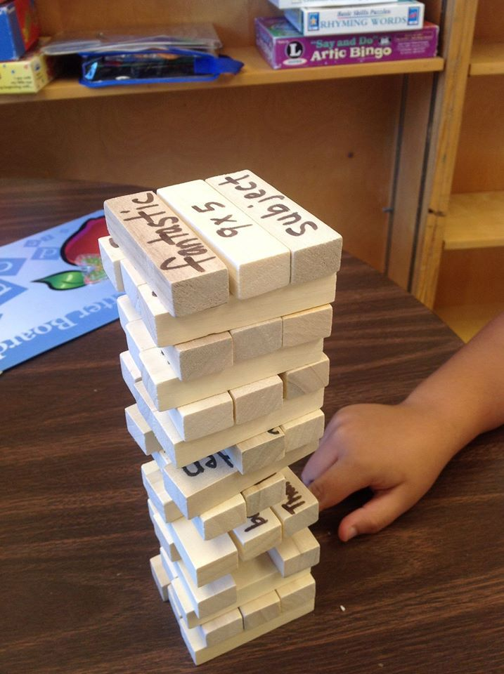 """Here's a tip I learned from a master teacher at a Wilson Reading conference-- a simple Jenga type game- a sharpie, a list of words, maybe a few math facts - and you have the perfect review game! I plan to make one for each of the steps in Wilson-- maybe another for just sight words-- the possibilities are endless!"" ~ Janine Mahoney"