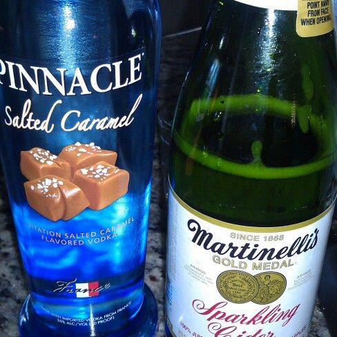 Yes, I made this! 1 part salted caramel pinnacle vodka and 2 parts sparkling apple juice. Caramel apple martini... Yummy!