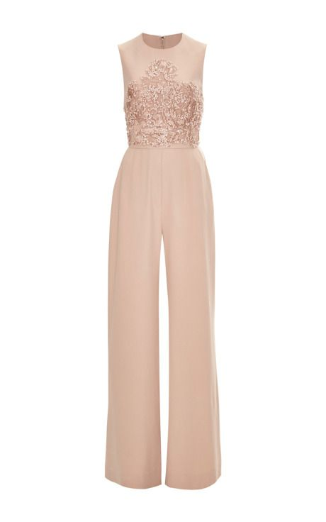 Crepe Cady & Embroidery Jumpsuit by Elie Saab for Preorder on Moda Operandi