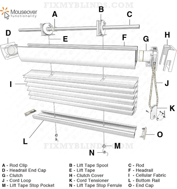 easy rise cellular honeycomb shade diagram with a hunter douglas style cord loop  internal flat