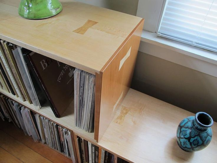 Two cherry and maple vinyl/record storage bins/cases with bowtie details   Storage ShelvesWall ...