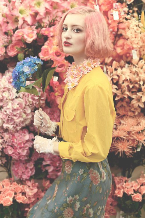 floral print skirt and flower necklace, yellow blouse and garden flowers #SS14