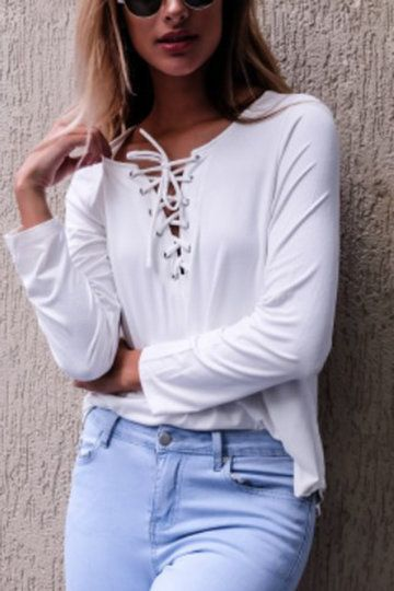 White Casual Lace-up Curved T-shirt - US$19.95 -YOINS