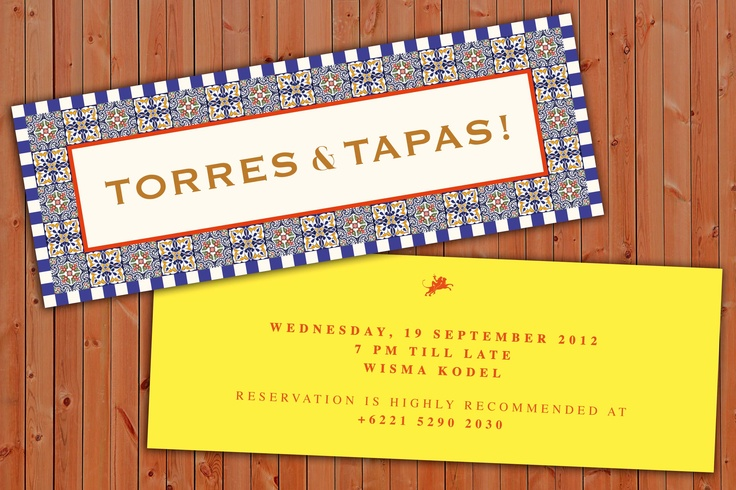 """Wed, Sept 19th '12. Starts frm 7pm - late @ Cork & Screw Wisma Kodel.  Feats: Mr. Bruno Butragueño Jiménez frm Torres will join the evening. Latest Tapas creations by Chef Asier Arroyo.  """"All Torres wines will be available by the glass & by the bottle at specially reduced prices."""" RSVP to +6221 5290 2030 ."""